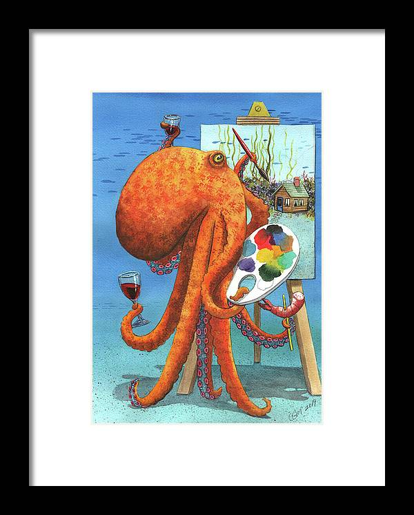 Octopus Framed Print featuring the painting Bob Rosstopus by Catherine G McElroy