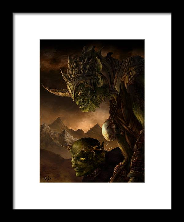 Goblin Framed Print featuring the mixed media Bolg The Goblin King by Curtiss Shaffer