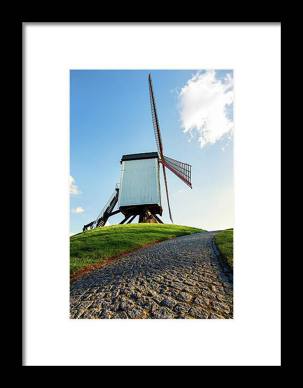 Belgian Windmill Framed Print featuring the photograph Bonne Chiere Windmill Bruges Belgium by Nathan Bush