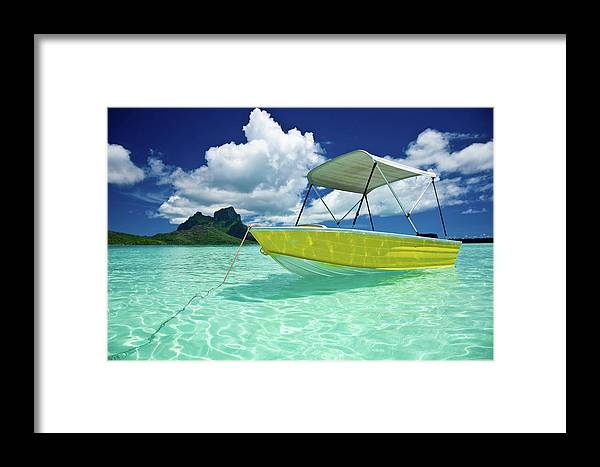 Motorboat Framed Print featuring the photograph Bora-bora Idyllic Lagoon With Motor Boat by Mlenny