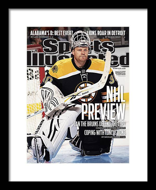Magazine Cover Framed Print featuring the photograph Boston Bruins Goalie Tim Thomas, 2011-12 Nhl Hockey Season Sports Illustrated Cover by Sports Illustrated