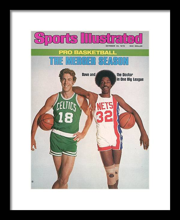 Magazine Cover Framed Print featuring the photograph Boston Celtics Dave Cowen And New York Nets Julius Erving Sports Illustrated Cover by Sports Illustrated
