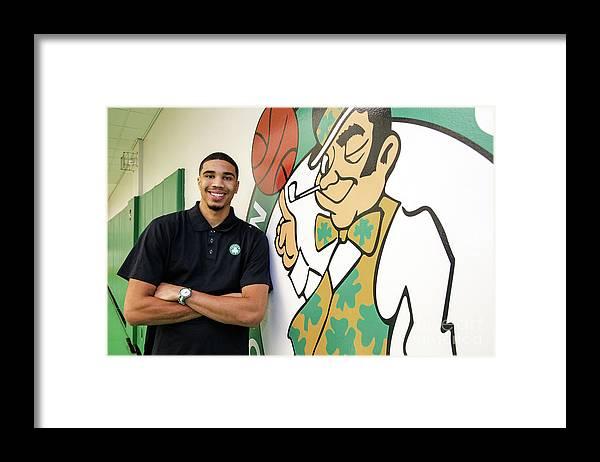 People Framed Print featuring the photograph Boston Celtics Introduce Jayson Tatum by Chris Marion