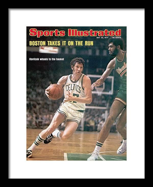 Magazine Cover Framed Print featuring the photograph Boston Celtics John Havlicek, 1974 Nba Finals Sports Illustrated Cover by Sports Illustrated