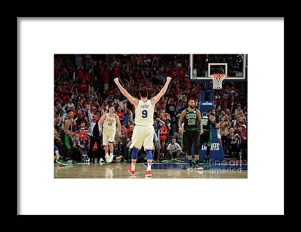 Playoffs Framed Print featuring the photograph Boston Celtics V Philadelphia 76ers - by David Dow