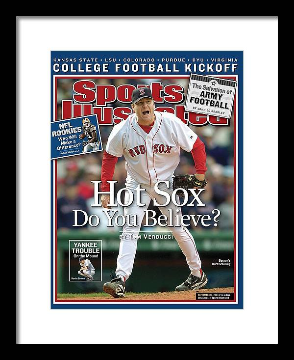Magazine Cover Framed Print featuring the photograph Boston Red Sox Curt Schilling... Sports Illustrated Cover by Sports Illustrated