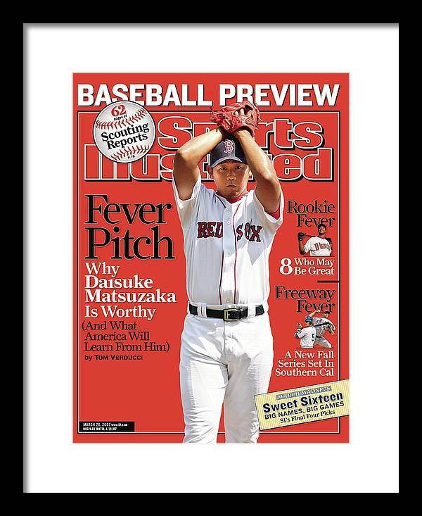 Magazine Cover Framed Print featuring the photograph Boston Red Sox Daisuke Matsuzaka... Sports Illustrated Cover by Sports Illustrated