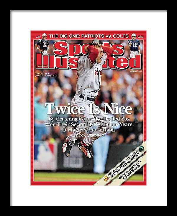 Magazine Cover Framed Print featuring the photograph Boston Red Sox Jonathan Papelbon, 2007 World Series Sports Illustrated Cover by Sports Illustrated