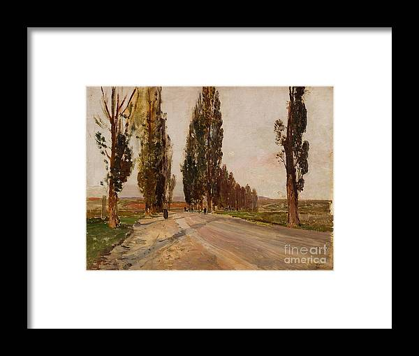 Painted Image Framed Print featuring the drawing Boulevard Of Poplars Near Plankenberg by Heritage Images