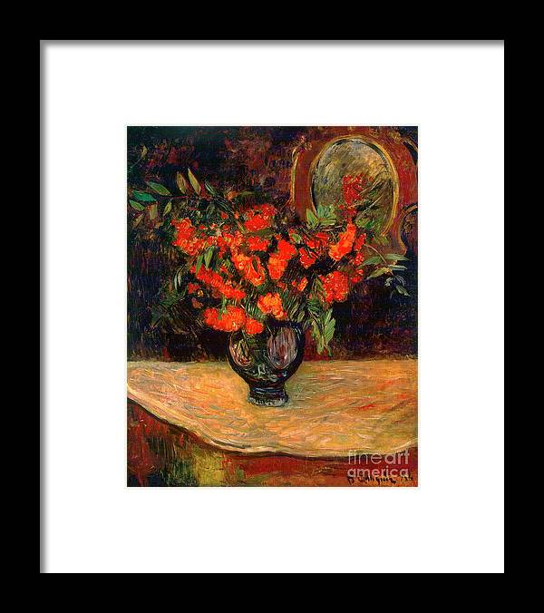 Paul Gauguin Framed Print featuring the drawing Bouquet, 1884. Artist Paul Gauguin by Heritage Images