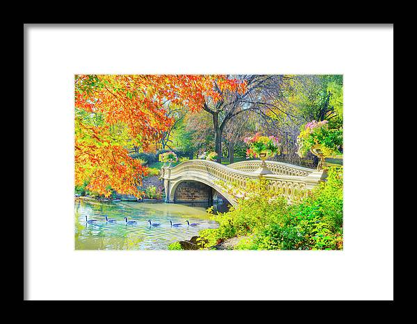 Scenics Framed Print featuring the photograph Bow Bridge, Central Park, In Autumn by Mitchell Funk