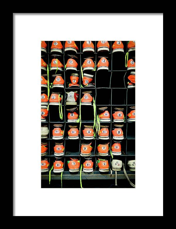 Orange Color Framed Print featuring the photograph Bowling Shoes by Christian Bird