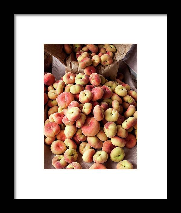 Retail Framed Print featuring the photograph Box Of Donut Peaches At A Farmers Market by Bill Boch