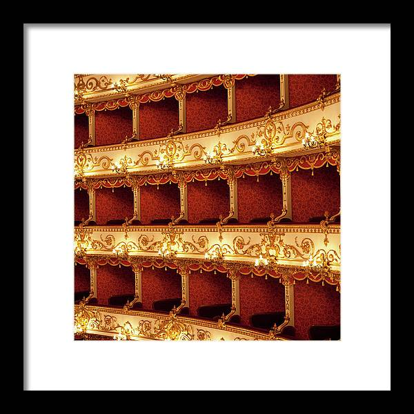 Event Framed Print featuring the photograph Boxes Of Italian Antique Theater by Naphtalina