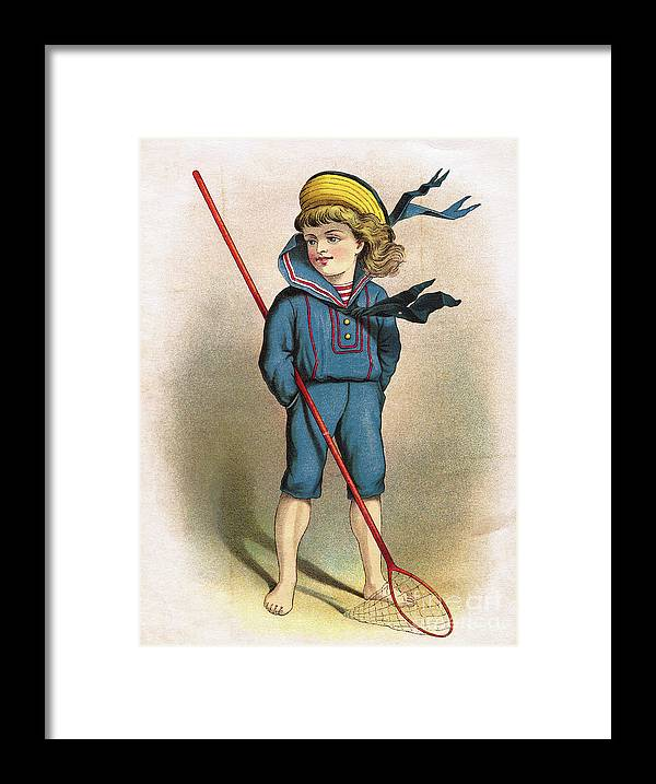 Art Framed Print featuring the photograph Boy In Sailor Suit With Butterfly Net by Bettmann
