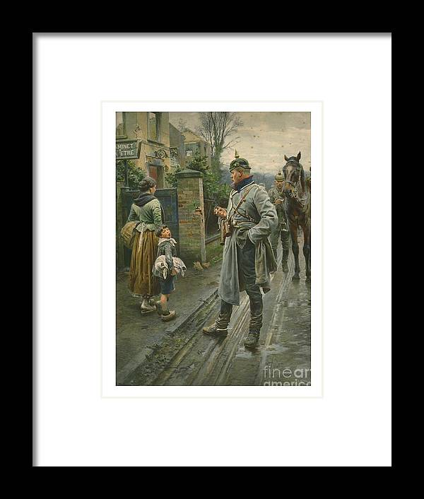 Engraving Framed Print featuring the drawing Boy Making A Face At A German Cavalry by Print Collector