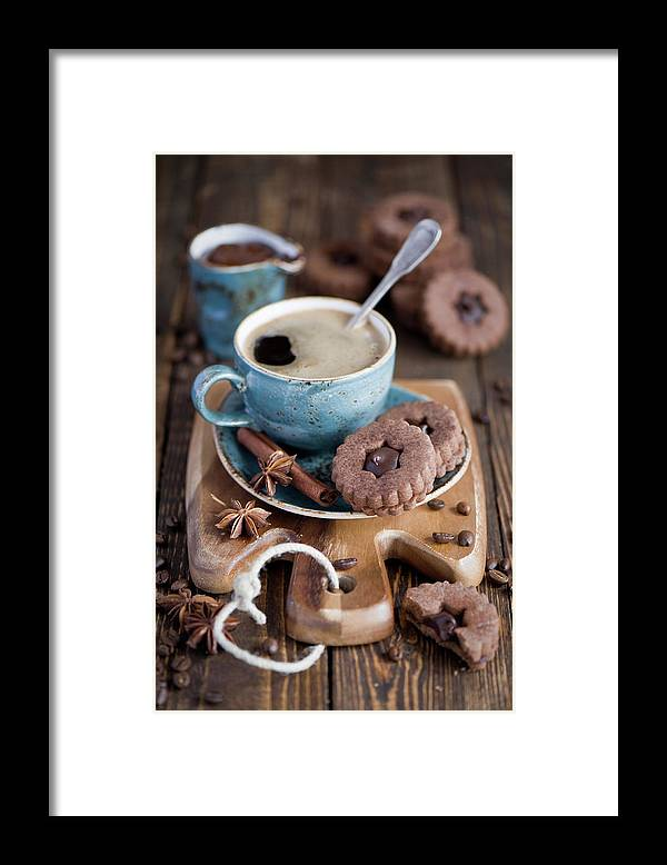 Breakfast Framed Print featuring the photograph Breakfast Coffee And Chocolate Cookies by Verdina Anna
