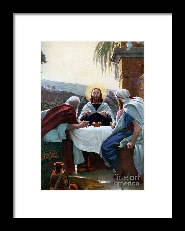 West Bank Framed Print featuring the drawing Breaking Of Bread At Emmaus, 1926 by Print Collector