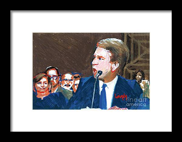Christine Blasey Ford Testifies Before Senate Framed Print featuring the painting Brett Kavanaugh Testifies Before Senate by Candace Lovely