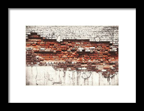 Tranquility Framed Print featuring the photograph Brick Wall Falling Apart by Ty Alexander Photography