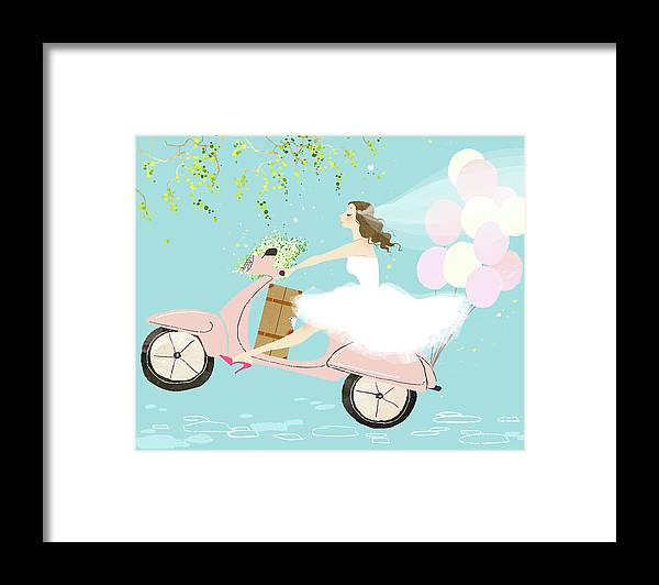 People Framed Print featuring the digital art Bride On Scooter by Eastnine Inc.