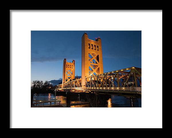 Shadow Framed Print featuring the photograph Bridge At Nightime by Jmoor17