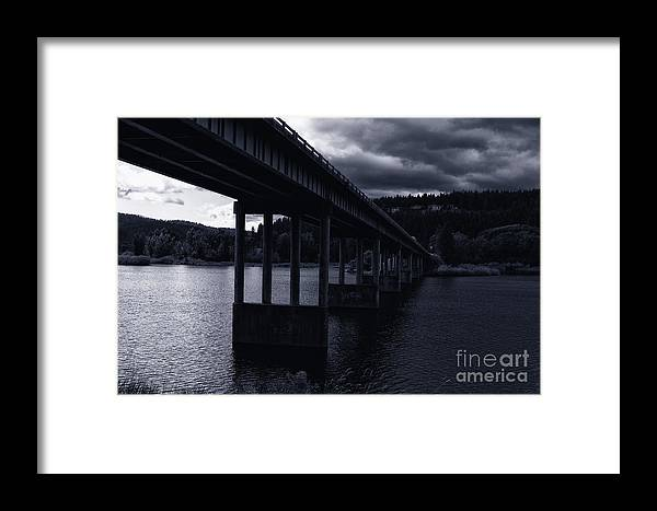 Spokane River Framed Print featuring the photograph Bridge Over Spokane River Cloudy Day by Matthew Nelson