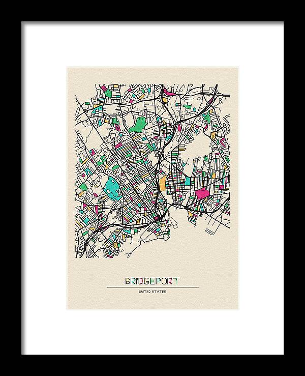 Bridgeport Framed Print featuring the drawing Bridgeport, United States City Map by Inspirowl Design