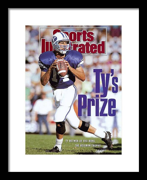 Provo Framed Print featuring the photograph Brigham Young University Qb Ty Detmer Sports Illustrated Cover by Sports Illustrated