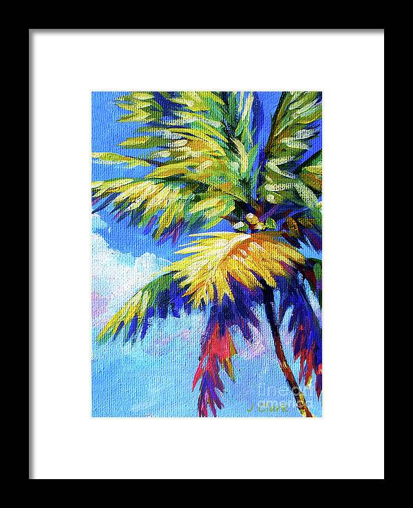 Bright Framed Print featuring the painting Bright Palm 5x7 by John Clark