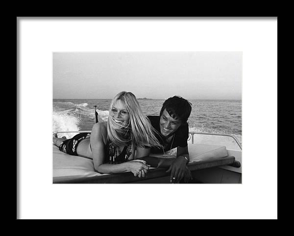 Singer Framed Print featuring the photograph Brigitte Bardot In Saint Tropez, France by Jean-pierre Bonnotte
