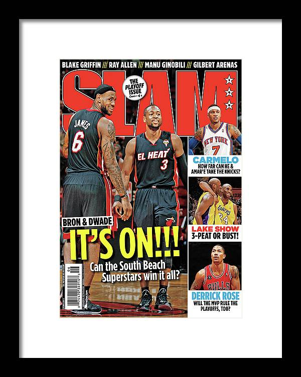 Dwayne Wade Framed Print featuring the photograph Bron & Dwade: It's On!!! SLAM Cover by Getty Images