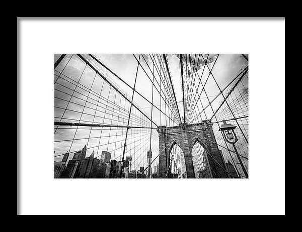 Downtown District Framed Print featuring the photograph Brooklyn Bridge And New York Skyline by Cirano83