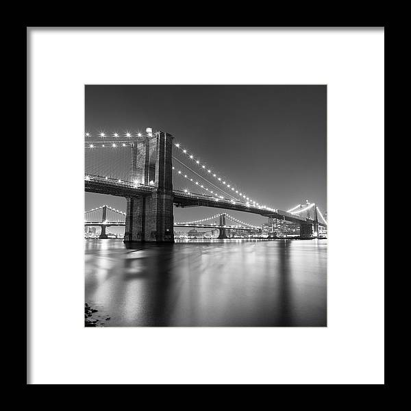 Scenics Framed Print featuring the photograph Brooklyn Bridge At Night by Adam Garelick