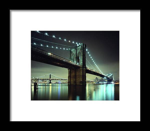 Built Structure Framed Print featuring the photograph Brooklyn Bridge At Night, New York City by Andrew C Mace