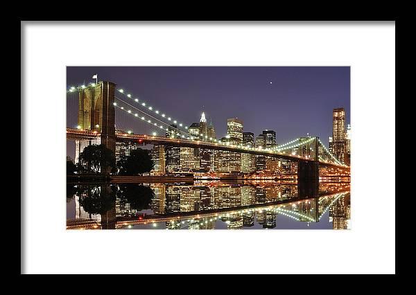 Suspension Bridge Framed Print featuring the photograph Brooklyn Bridge At Night by Sean Pavone