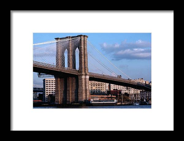 Built Structure Framed Print featuring the photograph Brooklyn Bridge by Dick Luria