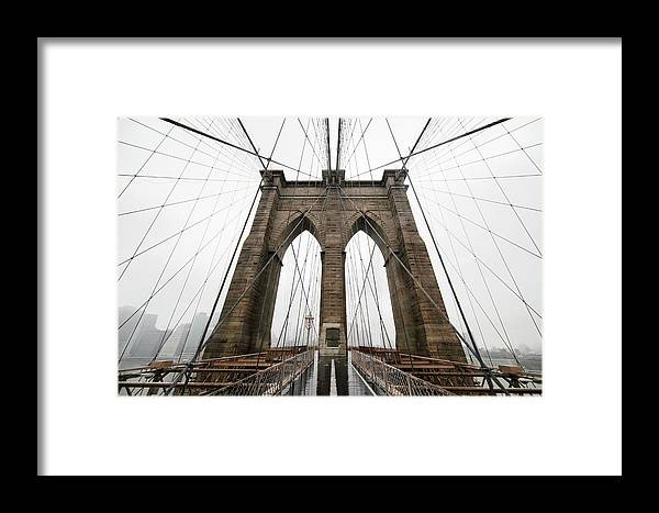 Suspension Bridge Framed Print featuring the photograph Brooklyn Bridge by Jimschemel