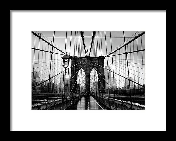 Clear Sky Framed Print featuring the photograph Brooklyn Bridge by Serhio.com Photography By Sergei Yahchybekov