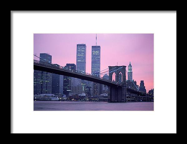Dawn Framed Print featuring the photograph Brooklyn Bridge, Twin Towers, Nyc, Ny by Barry Winiker