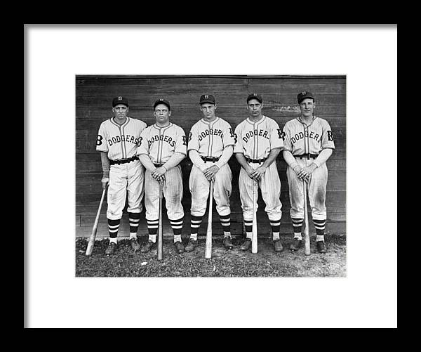 1930-1939 Framed Print featuring the photograph Brooklyn Dodgers Outfielders L. To R by New York Daily News Archive