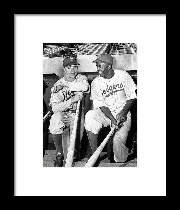 American League Baseball Framed Print featuring the photograph Brooklyn Dodgers Pee Wee Reese And by New York Daily News Archive