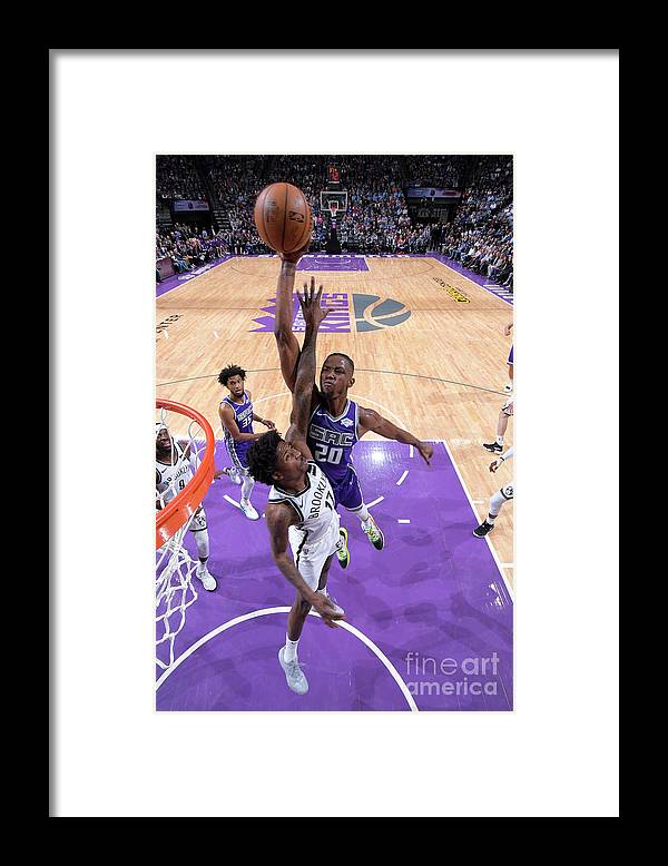 Nba Pro Basketball Framed Print featuring the photograph Brooklyn Nets V Sacramento Kings by Rocky Widner