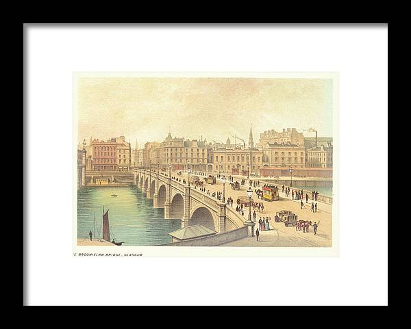 Glasgow Framed Print featuring the photograph Broomielaw Bridge In Glasgow by Kean Collection
