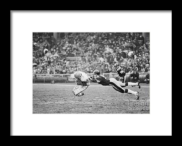 American Football Uniform Framed Print featuring the photograph Browns-steelers Action by Bettmann