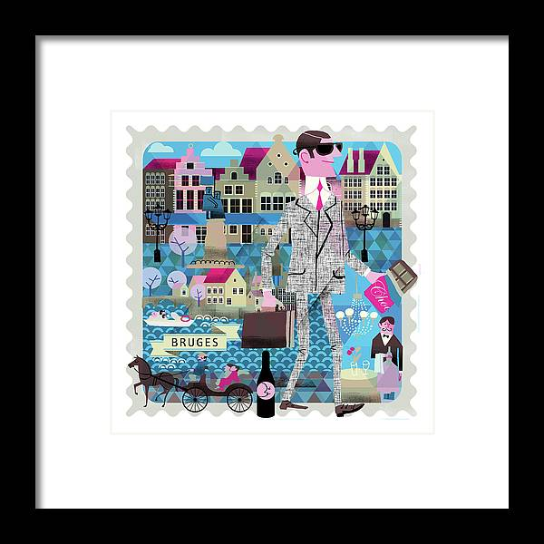 Belgium Framed Print featuring the digital art Bruges by Luciano Lozano