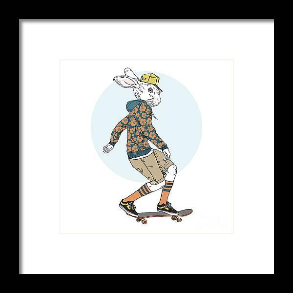 Fancy Framed Print featuring the digital art Bunny Boy Riding On A Skateboard, Furry by Olga angelloz