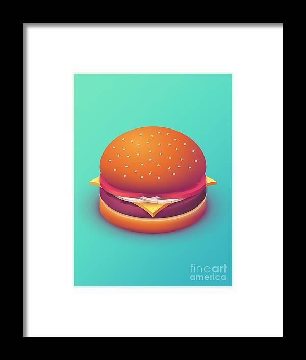 Burger Framed Print featuring the digital art Burger Isometric - Plain Mint by Ivan Krpan