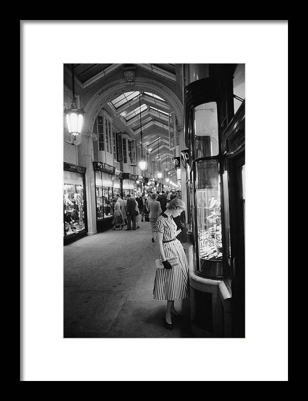 People Framed Print featuring the photograph Burlington Arcade by Slim Aarons