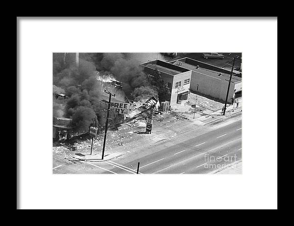 Burnt Framed Print featuring the photograph Burning Building In 1965 Los Angeles by Bettmann